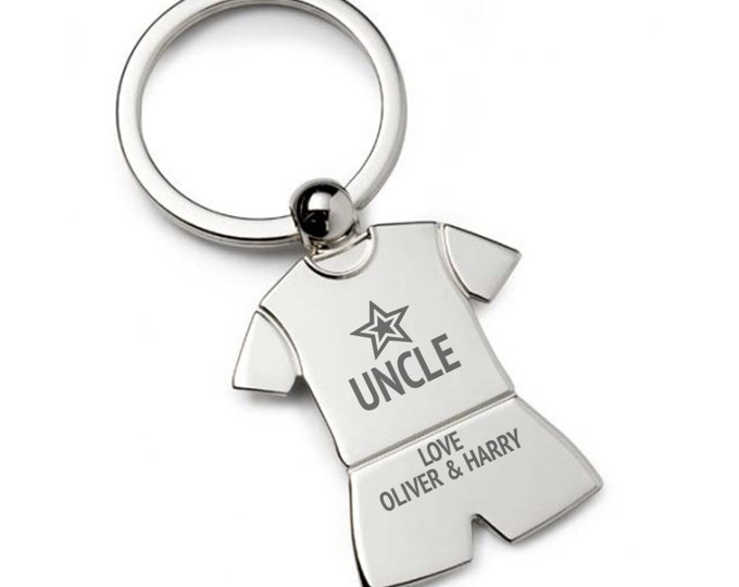 Personalised engraved Star UNCLE KEYRING gift, personalized metal T-Shirt keyring keychain - TSK-ST3