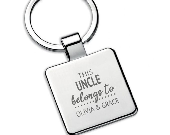 Personalised This UNCLE belongs to keyring square metal keychain gift - 5580LON8
