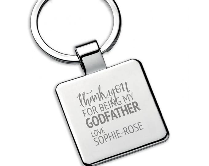 Personalised engraved GODFATHER square metal KEYRING thank you christening, baptism gift - 5580GD1
