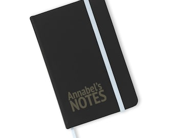 Personalised engraved A6 soft touch, black notebook, journal, book, notepad, lined notebook, Name's notes - A6-NOTE1