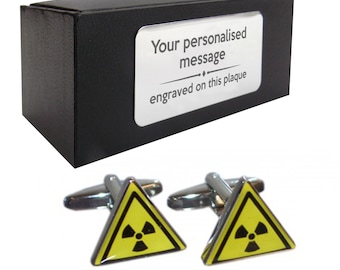Radioactive science teacher novelty CUFFLINKS birthday gift idea, presentation box with PERSONALISED ENGRAVED plate - 003