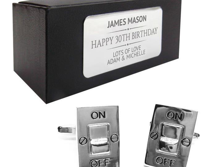 Electrician switch power CUFFLINKS birthday gift, personalised engraved cufflinks box - 133