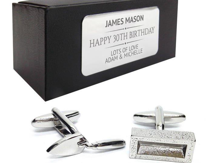 Builder brick layer CUFFLINKS birthday gift, presentation box PERSONALISED ENGRAVED plate - 340