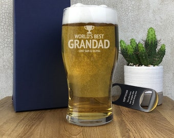 Personalised engraved Champion GRANDAD pint beer glass gift idea, gift boxed - PG-C2