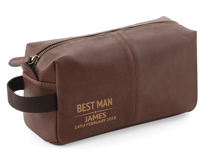 Personalised engraved Best Man BROWN LEATHER pu washbag, toiletry bag wedding gift - WB-WD3
