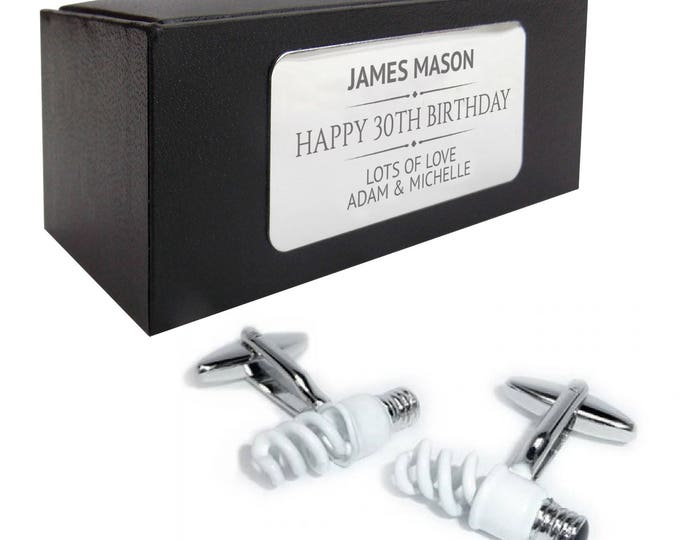 Electrician light bulb CUFFLINKS birthday gift, presentation box PERSONALISED ENGRAVED plate - 191