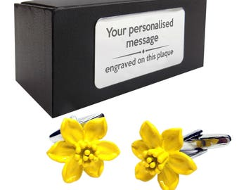 Welsh daffodils novelty CUFFLINKS birthday gift idea, presentation box with PERSONALISED ENGRAVED plate, personalized, customized - 874