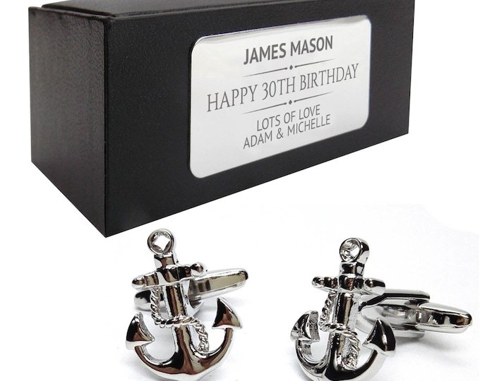 Nautical anchor novelty CUFFLINKS birthday gift idea, presentation box with PERSONALISED ENGRAVED plate - 217