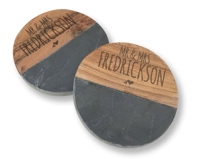 Engraved MR and MRS coasters gift, pair of coasters, wedding anniversary personalised gift idea - CB0-MAR1