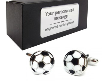 Football soccer sports novelty CUFFLINKS gift, presentation box PERSONALISED ENGRAVED plate - 095