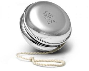 Engraved SILVER PLATED personalised yoyo yo-yo childrens kids birthday gift, flower design - YO-NAM4