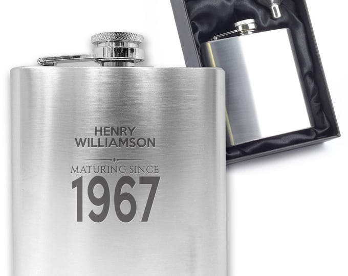 Personalised engraved 50TH BIRTHDAY hip flask gift idea, stainless steel, presentation box, maturing since 1967 - MA50