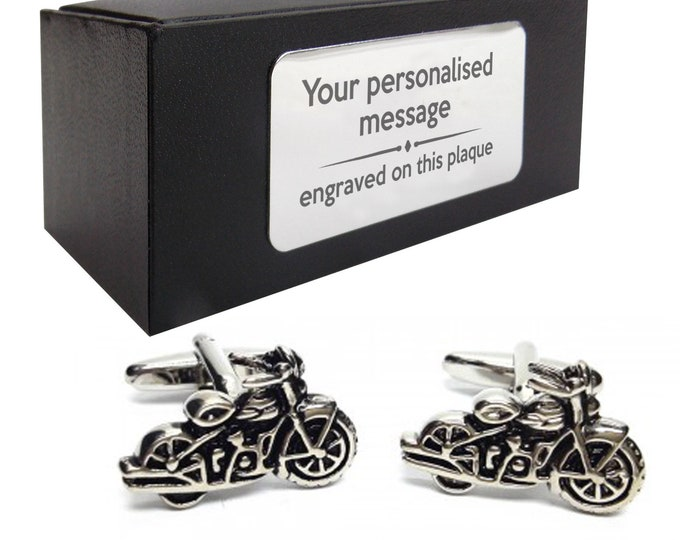 Retro motorbike bike biker CUFFLINKS birthday gift idea, presentation box with PERSONALISED ENGRAVED plate - 100
