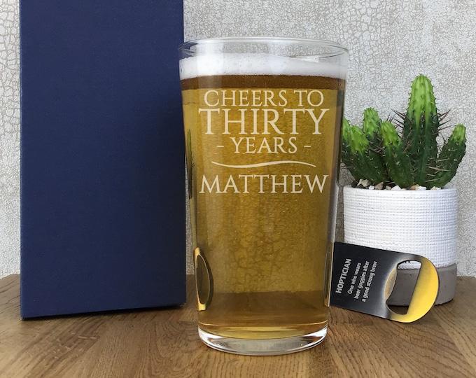 Laser engraved BIRTHDAY pint glass gift, personalised 30th 40th 50th 60th 70th 80th birthday straight beer glass, gift boxed - SPT-30
