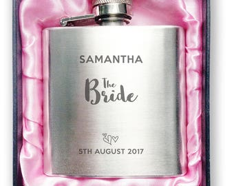 Personalised engraved BRIDE stainless steel hip flask wedding thank you, hen party gift, handbag sized + presentation box - 3WD1