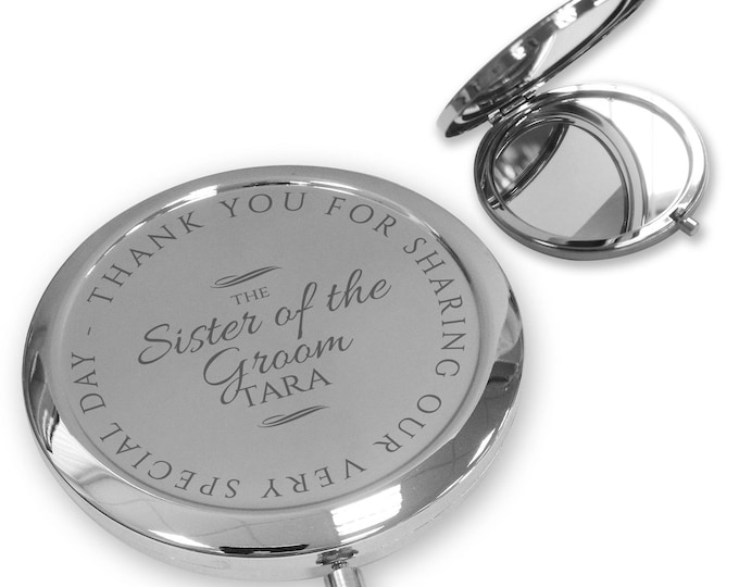 Personalised engraved SISTER of the GROOM compact mirror gift, handbag pocket mirror Push button, deluxe - PBWD9