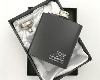 Engraved GROOMSMAN hip flask personalised wedding gift idea, laser engraved black flask, presentation gift box - NYM3