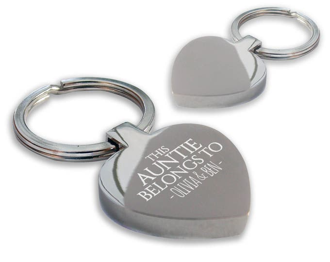 Personalised engraved This AUNTIE, aunty, aunt belongs to keyring gift, chunky heart shape keyring - HE-BEL3