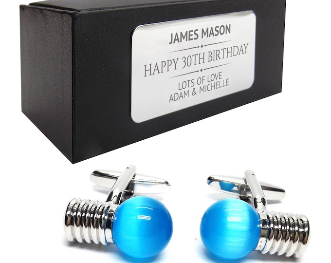 Electrician light bulb CUFFLINKS gift for him, personalised engraved cufflink box - 093