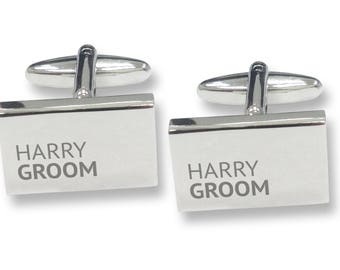 Engraved GROOM rectangle wedding cufflinks, rhodium plated - REP5