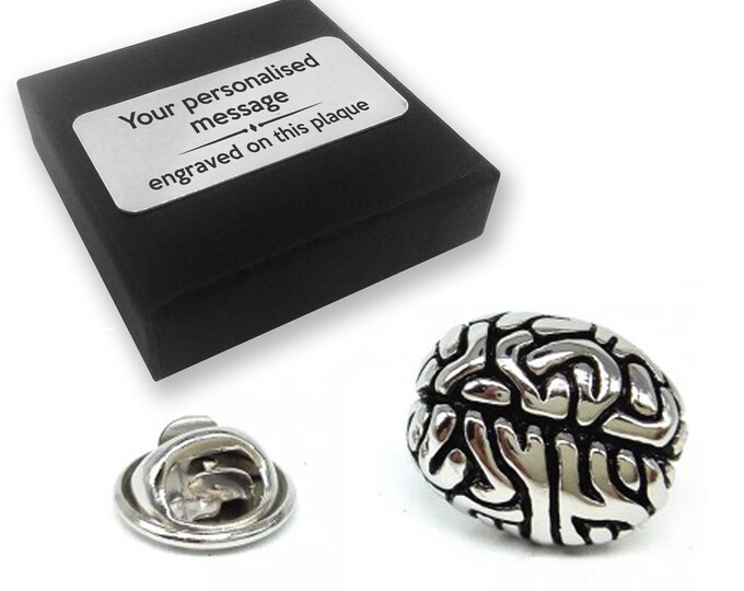 Brain, brainy, lapel pin badge, tie pin, brooch accessory, boutonniere - personalised engraved gift box - 359