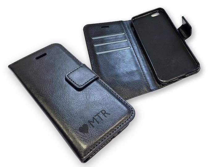 Engraved heart MONOGRAM iphone 6 phone case, black leather PU wallet, personalised phone book case, credit card slots - IP6-MON10