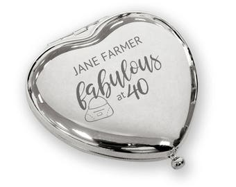 Personalised engraved Fabulous at 40 HEART shaped compact mirror 40th birthday gift idea, SILVER PLATED - FAB40