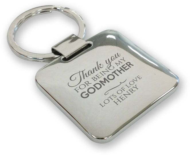Personalised engraved GODMOTHER keyring christening baptism gift, silver plated deluxe pillow square keyring - SQGD1