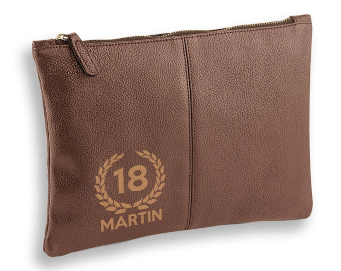 Personalised engraved 18th Birthday BROWN LEATHER pu accessory, tablet, wash bag, toiletry case - AC-L18