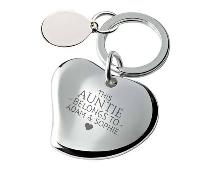 Engraved AUNTIE keyring gift, personalised silver plated heart keyring - 148-BE3