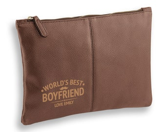 Personalised engraved World's Best Boyfriend BROWN LEATHER pu accessory, tablet, wash bag, toiletry case - AC-WB10