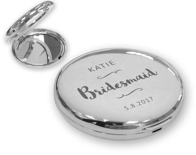 Personalised engraved BRIDESMAID compact mirror wedding gift idea, SILVER plated - SOP8
