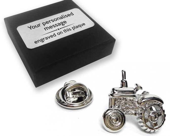 Tractor farmer farming gift, lapel pin badge, tie pin brooch accessory, boutonniere - personalised engraved gift box - 278