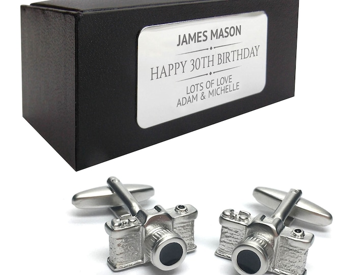 Camera photographer photograph CUFFLINKS gift, personalised engraved cuff link box - 078