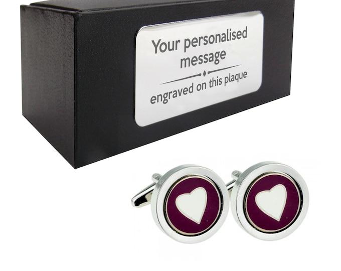 Purple love heart novelty CUFFLINKS birthday gift, presentation box PERSONALISED ENGRAVED customized plate - 085h