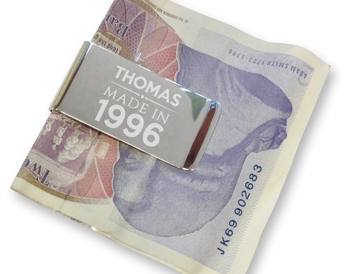 Personalised engraved 21st birthday MONEY CLIP made in 1996 - silver plated  - MC21