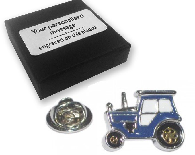 Tractor, farmer, farming, lapel pin badge, tie pin, brooch accessory, boutonniere - personalised engraved gift box - 342