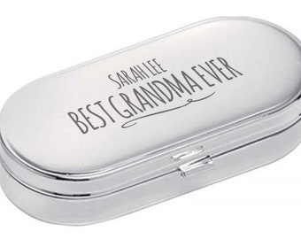 Personalised engraved PILL BOX gift for GRANDMA, World's Best, dual compartment, mirror lid, polished chrome metal - 9004-NY4