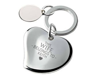 Engraved This WIFE belongs to keyring SILVER PLATED, personalised contoured heart keyring - 148-BE6