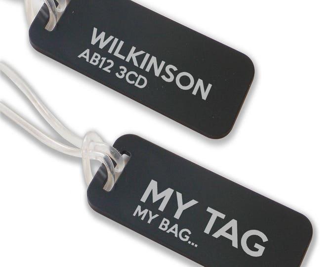 Personalised engraved suitcase holiday BAG luggage TAG, coloured aluminium custom luggage tag - ANB9-F1