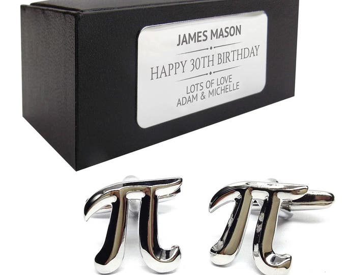 Maths teacher pi symbol CUFFLINKS birthday gift, presentation box PERSONALISED ENGRAVED plate - 014