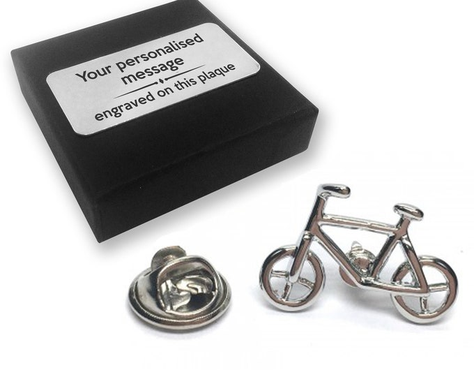 Bicycle, cycle, cyclist, lapel pin badge, tie pin, brooch accessory, boutonniere - personalised engraved gift box - 146