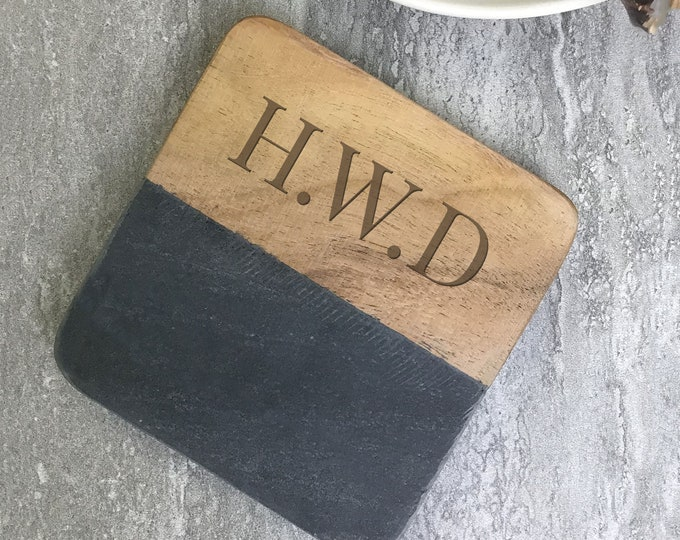 Engraved monogram coaster gift, personalised gift idea, stone & wood drinks mat. Monogrammed gift  SCOA-3