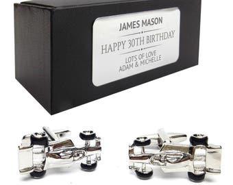 F1 racing car, formula one CUFFLINKS birthday gift, presentation box PERSONALISED ENGRAVED plate - 074