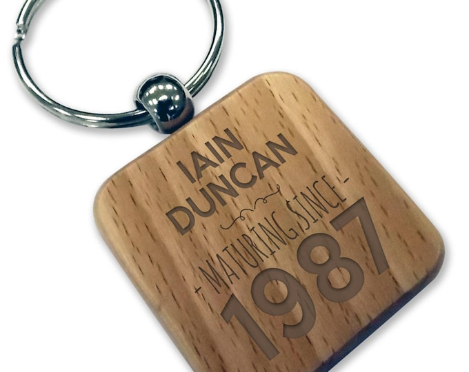 Personalised engraved 30TH BIRTHDAY wood keyring gift, wooden rounded square keyring - WDK30