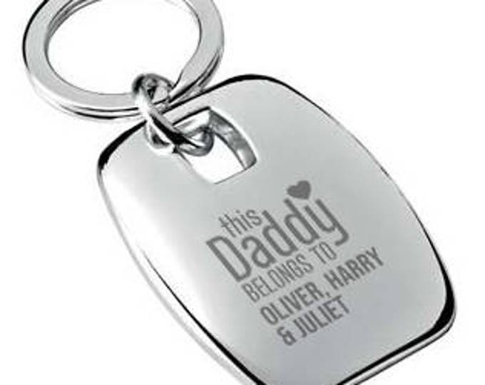 Personalised engraved This DADDY belongs to KEYRING chromed metal keychain rounded chunky barrel shape - 7863-BEB1