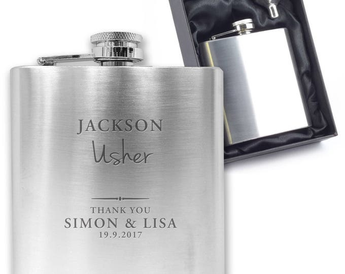 Personalised engraved USHER hip flask wedding thank you gift idea, stainless steel presentation box - SW1