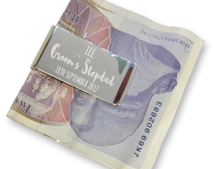 Personalised engraved step dad of the groom MONEY CLIP wedding gift, thank you - silver plated  - AM9