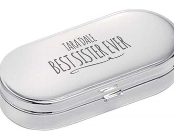 Personalised engraved PILL BOX gift for SISTER, World's Best, dual compartment, mirror lid, polished chrome metal - 9004-NY9