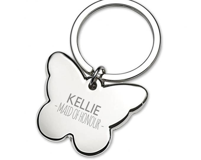 Engraved MAID OF HONOUR butterfly wedding keyring thank you gift idea - 5639BUW4